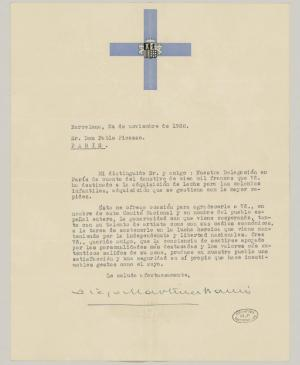 Diego Martínez's letter to Pablo Picasso