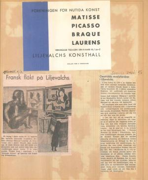 Press cuttings from the exhibition Henri Matisse, Picasso, G. Braque, Laurens at Liljevalchs Konsthall