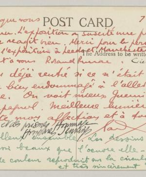 Roland Penrose's postcard to Pablo Picasso and Dora Maar