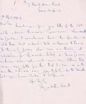 Carta de Elizabeth Watt a J.N. Duddington del 7 de abril de 1939
