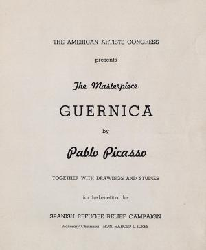 Catálogo de la exposición The American Artists Congress presents the Masterpiece Guernica by Pablo Picasso for the benefit of the Spanish Refugee Relief Campaign de la Valentine Gallery de Nueva York