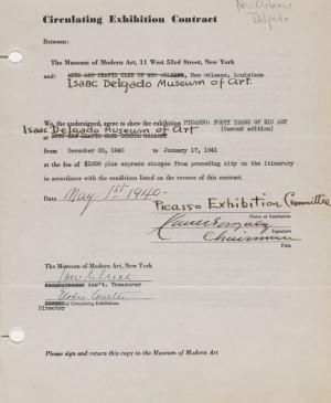 Circulating exhibition contract for Picasso: Forty Years of His Art (second edition) between the Museum of Modern Art, New York, and the Isaac Delgado Museum of Art, New Orleans.