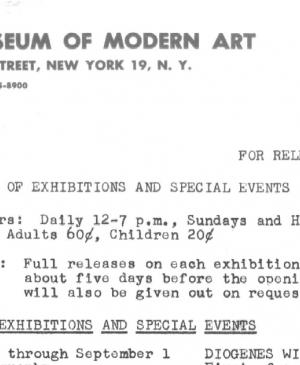 Press dossier on various exhibitions held at the Museum of Modern Art, New York