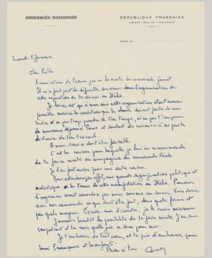 Letter from the Assemblé National of France to Pablo Picasso