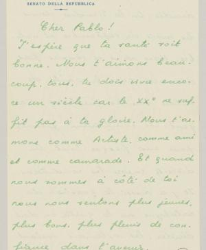 Eugenio Reale's letter to Pablo Picasso, dated 19 June 1953