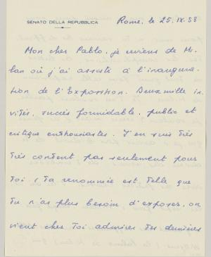 Eugenio Reale's letter to Pablo Picasso, dated 25 September 1953