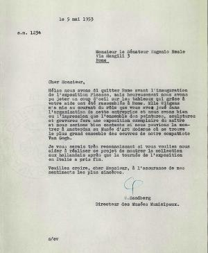 Willem Sandberg's letter to Eugenio Reale, dated 5 May 1953