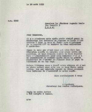 Willem Sandberg's letter to Eugenio Reale, dated 18 August 1953