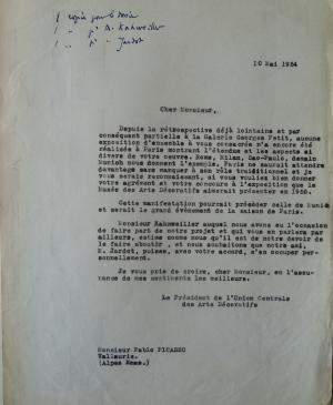 François Carno's letter to Pablo Picasso
