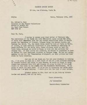 Daniel-Henry Kahnweiler's letter to Alfred H. Barr Jr., dated 10 February 1955
