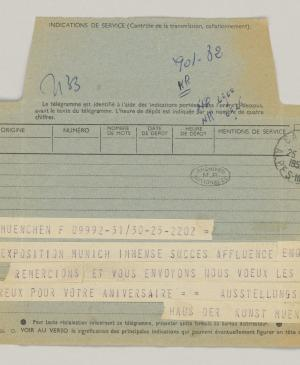 A telegram to Pablo Picasso