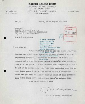 Daniel-Henry Kahnweiler's letter to Willem Sandberg, dated 29 September 1955