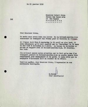 M. Winter's letter to Robert Giron, dated 25 January 1956