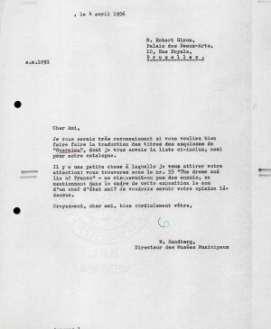 Willem Sandberg's letter to Robert Giron, dated 4 April 1956