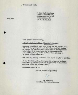 Willem Sandberg's letter to Holland-Amerika Lijn, dated 21 February 1956
