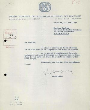 Robert Giron's letter to Willem Sandberg, dated 4 April 1956
