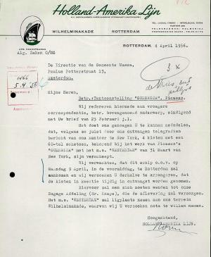 A letter from Holland-Amerika Lijn to Willem Sandberg, dated 4 April 1956