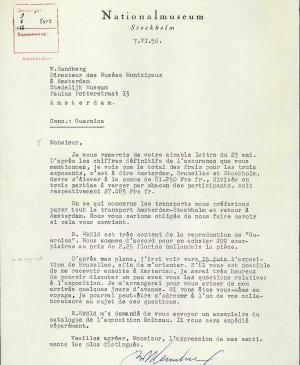 Bo Wennberg's letter to Willem Sandberg, dated 7 June 1956
