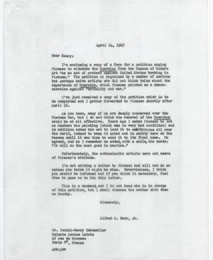 Alfred H. Barr Jr.'s letter to Daniel-Henry Kahnweiler, dated 14 April 1967