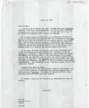 Alfred H. Barr Jr.'s letter Pablo Picasso, dated 21 April 1967