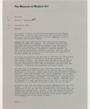 Comunicado interno de Richard Oldenburg, director del Museum of Modern Art de Nueva York, sobre la marcha de Guernica