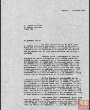 Carta de Javier Tusell a Claude Picasso