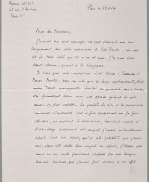 Maurice Jardot's letter to Pablo Picasso, dated 23 February 1954