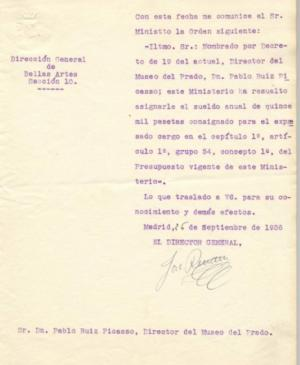 Letter from  Josep Renau to Pablo Picasso,  24 September 1936