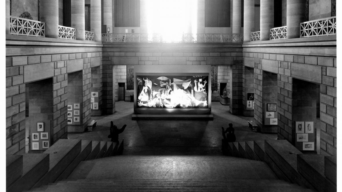 Installation of Guernica at the Philadelphia Museum of Art