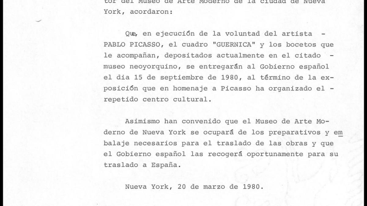 An agreement over the conditions and delivery date of Guernica