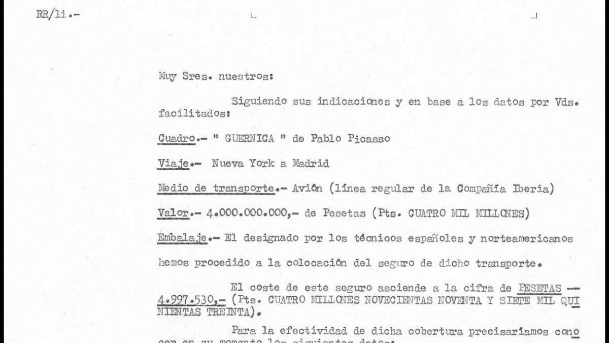 Insurance quote for the transfer of Guernica  to Spain